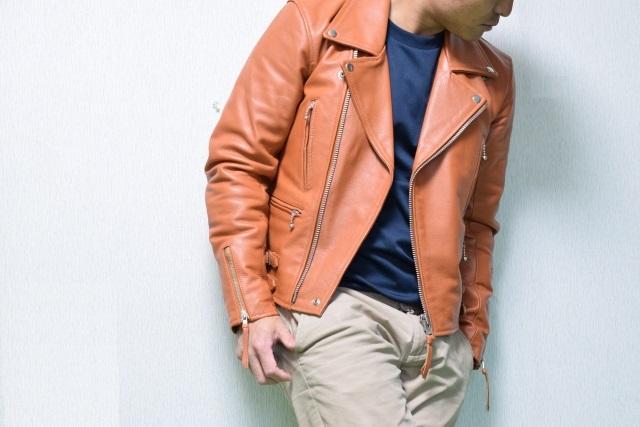 茶色のレザージャケット