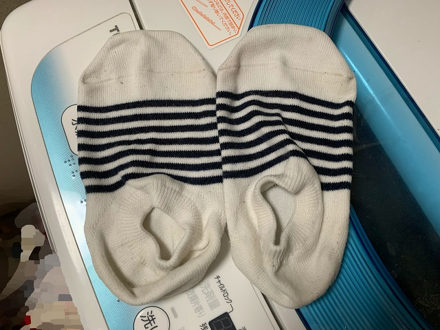 洗濯機で洗い終えた靴下